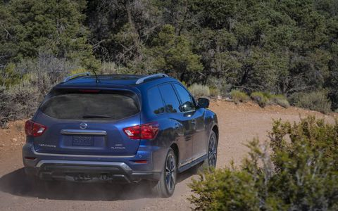 The Nissan Pathfinder 3-row crossover SUV has been redesigned for 2017 with more upright styling, a more powerful engine and improved interior technologies.