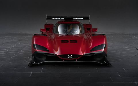 The Mazda RT24-P race car was unveiled Wednesday at the LA Auto Show. It is scheduled to make its IMSA WeatherTech SportsCar Championship debut at the Rolex 24 Hours at Daytona in January.