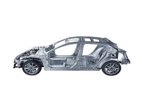 The Skyactiv-VA vehicle architecture, expected to arrive with the next Mazda 3 hatchback.