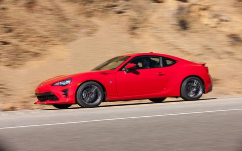 With the demise of Scion, the former FR-S moves to Toyota to become the Toyota 86 for the 2017 model year. Along with new badges it gets a front and rear freshening, the manual transmission version gets five more hp to top out at 205 hp and several suspension tweaks make it even more fun to drive. There's even a TRD 86.