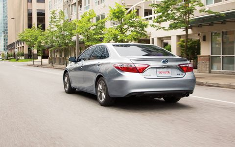The Camry Hybrid has a 105-kw electric motor and gets 40 mpg combined.