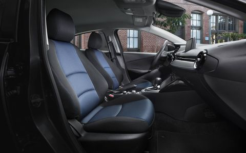 The 2017 Toyota Yaris iA has a spartan, utilitarian interior.