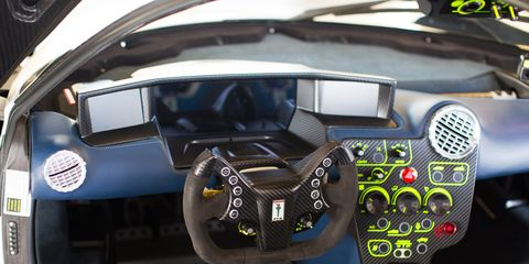 The very purposeful, very GT3 car like, interior of the 2018 SCG 003s