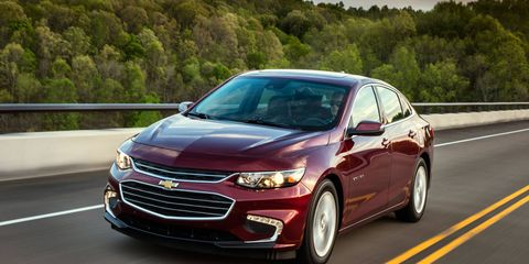 The 2017 Chevy Malibu Hybrid has an 80-cell, 1.5 kWh lithium-ion battery pack providing electric power to the hybrid system. It can power the vehicle up to 55 miles per hour (88 km/h) on electricity alone. The gasoline-powered engine automatically comes on at higher speeds and high loads to provide additional power.