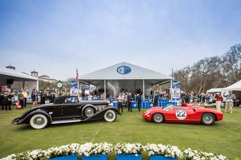 a 1963 ferrari 250275p and 1929 duesenberg jsj convertible won at this year's amelia island concours