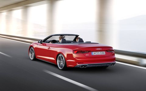 The 2018 Audi S5 Cabriolet ups the ante over the basic A5 with a 354-hp, 369-hp turbocharged V6.