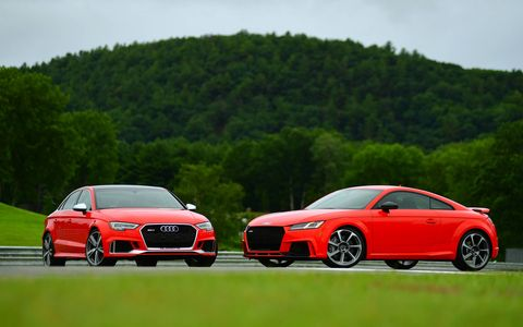 The 2018 Audi RS3 and TT RS have the same five-cylinder engine and same seven-speed dual-clutch transmission.