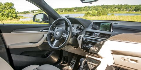 The X2 offers an interior smaller than that of the X1, more sedan-like in feel and proportions.