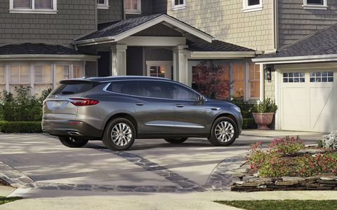 The 2018 Buick Enclave seats seven, navigation is standard on Avenir and available on Essence and Premium models.