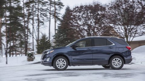 CHEVROLET EQUINOX -- The Chevrolet Equinox Diesel  (28/39/32 mpg FWD, 28/38/32 mpg AWD) makes only 137 hp but brings 240 lb-ft of torque along with it, which makes for a seriously punchy little SUV. The mileage from the example we tested was good and never dipped below 30 mpg -- impressive considering our editorial team mostly has feet made from lead and other dense materials.