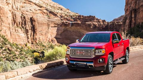 GMC CANYON -- The big change for the 2018 GMC Canyon  was the arrival of the 2.8-liter Duramax turbodiesel. It's a $3,730 option, which pushes the as-tested sticker to a startling $48,290 -- ridiculous until you look and see what full-size trucks are going for these days. Depending on what you need the truck for, the Duramax just might be worth the price tag. Trailering capacity, 7,600 pounds, can't touch a full-size truck, but it's well within the realm of anything an occasional hauler will need to do courtesy of the diesel's 369 lb-ft of torque.