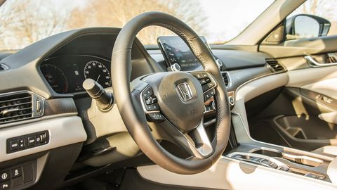 The Accord offers a plush interior in the Touring trim, with plenty of wood elements.