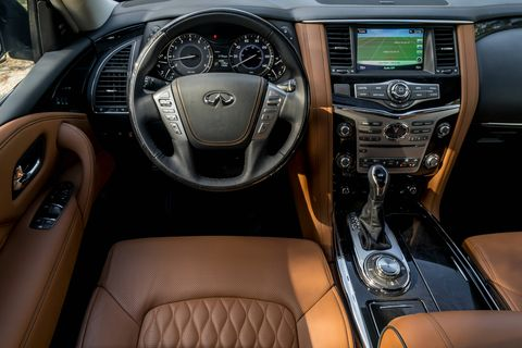 Semi-aniline leather with color-contrast piping is optional on the 2018 Infiniti QX80.