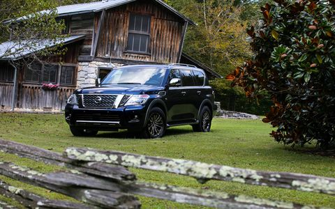 The 2018 Nissan Armada Platinum has a 5.6-liter V8 producing 390 hp and 394 lb-ft of torque.