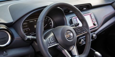 The 2018 Nissan Kicks is offered in three trims S, SV and SR. Base models get a 7-inch touchscreen, rearview monitor and automatic emergency braking.
