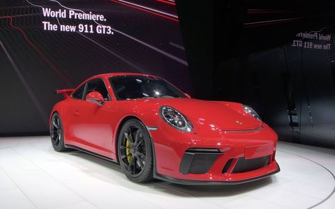 The 911 GT3 made its debut at the Geneva motor show in March 2017, with a 4.0-liter flat-six good for 500 hp.