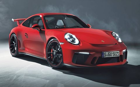 The 911 GT3 arrives this fall with a 4.0-liter flat-six good for 500 hp.