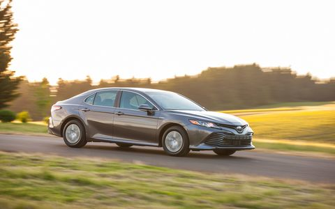 The new 2018 Camry is lower, wider and features - gasp! - an independent rear suspension. The SE and XSE models are actually kinda fun to drive. There's also a hybrid available. Camry hits showrooms in July.