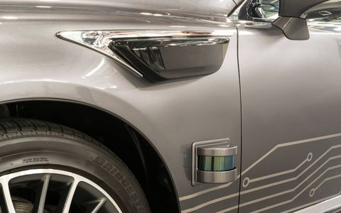 Shorter-range LIDAR sensors are positioned low on all four sides of the vehicle.