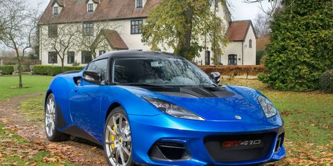 The Lotus Evora GT410 Sport comes with a 3.5-liter V6 making 410 hp and 310 lb-ft of torque.