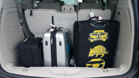 With all the seats in place, there's still enough cargo room for all of a Race Organizer's big suitcases.