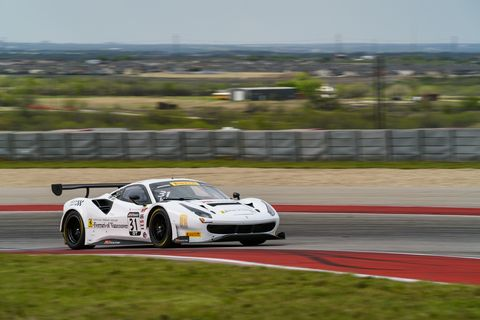 The Ferrari 488 GT3 on track at the Circuit of the Americas during the first race weekend of the 2018 Pirelli World Challenge SprintX series