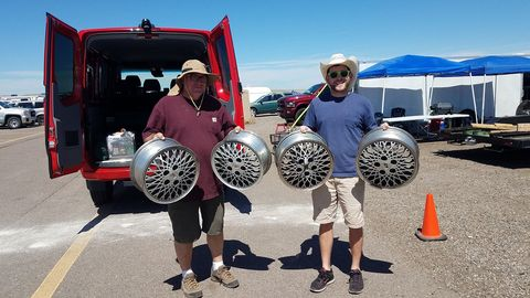 I picked up some Oldsmobile Silhouette wheels at a Denver junkyard, for delivery by these Illinois racers to Olds Ciera-driving Lemons judge Eric Rood in Chicago. Plenty of room for them in the Sprinter