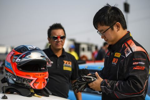 Wei Lu trying his hand at a Ferrari 488 GT3 car and winning. He raced in the 2018 Pirelli World Challenge SprintX Championship series alongside his professional driver coach, and Le Mans veteran, Jeff Segal in the Pro-Am class