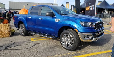 Ford brought out examples of some preproduction Rangers for the truck's official launch at the Michigan Assembly plant on Monday, Oct. 22.