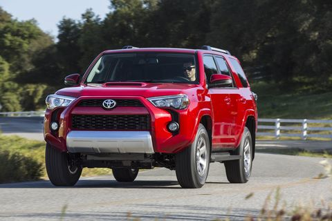 TOYOTA 4Runner -- The Toyota 4Runner (5,000-pound towing capacity) got a refresh back in 2014 with new exterior and interior refinements and more comfort and convenience options. The 270-hp, 4.0-liter V6 is still the only engine. It makes 278 lb-ft and puts power down through a five-speed automatic. The SR5 and Trail 4x4 models have a two-speed, part-time 4WD system, which helps to improve fuel economy when cruising on the road. The Limited has full-time 4WD with a locking differential and three-mode switch and Toyota's X-REAS suspension, which automatically adjusts damping force when riding over bumps or cornering.