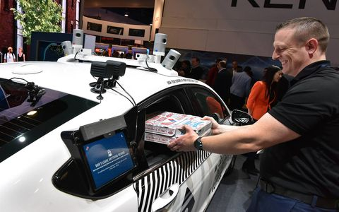 Ford showed a futuristic city at CES, one that is based around shared use of autonomous vehicles and better communication between all -- an automotive/biker/pedestrian paradise. Pizza for everyone!