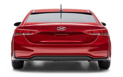 The 2018 Hyundai Accent is longer and wider than the previous generation of Accent.