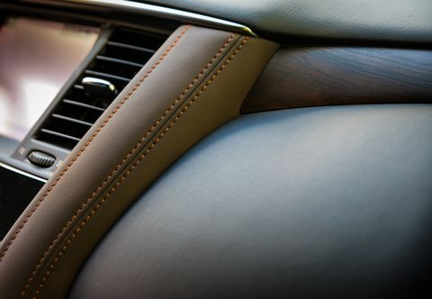 The 2019 Nissan Armada Platinum Reserve gets all of the upgrades inside including accent stitching, wood and leather, and seat inserts for style.