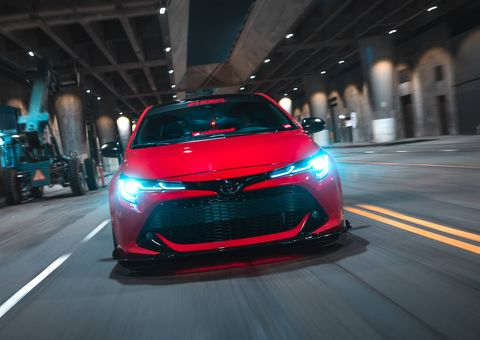 Super Street magazine tuned and revamped a 2019 Toyota Corolla Hatchback at the 2018 SEMA show.