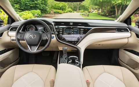 The 2018 Toyota Camry XLE Hybrid has 15.1 cubic feet of cargo space.