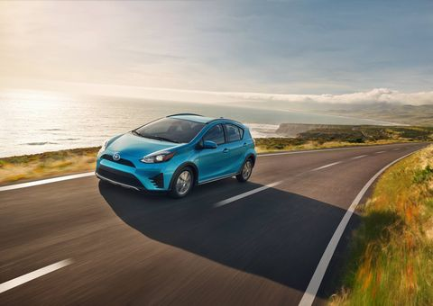The 2018 Toyota Prius C returns 48 mpg in the city with a teeny 1.5-liter four and electric motor.