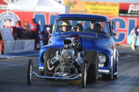 There's nothing cooler than watching a customized second-generation Ford F-100 push start a front engine dragster.