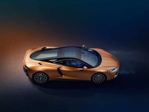"""McLaren promises """"competition levels of performance and continent-crossing capability"""" from its new GT. You can even put a set of golf clubs in the 14.8 cu ft of luggage space in back. Your bags go in the 5.3 cubic feet up front. Power comes from a new 4.0-liter twin turbo V8 making 612 hp and 465 lb ft of torque.U.S. pricing will be$208,800 when it hits U.S. showrooms this fall."""