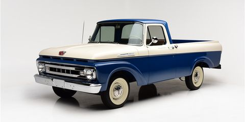 subject of a no expense spared restoration this 1961 ford f100 pickup sold for a remarkable  88000 at barrett jackson s 2019 scottsdale auction