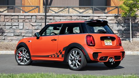 The Mini Cooper JCW delivers 228 hp and 236 lb-ft of torque from its 2.0-liter turbocharged four. This one is called the International Orange Edition.