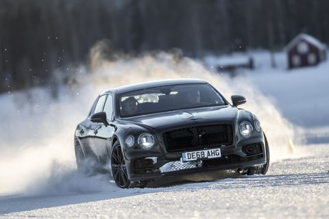 Yes. That is a luxury sedan drifting around the snow just outside of the arctic circle. The 2020 Bentley Flying Spur looks quite promising. It's March 2nd 2019