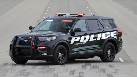 The 2020 Ford Explorer Hybrid Pursuit comes with a 3.3-liter V6, electric motor and battery good for 318 hp and 322 lb-ft of torque.