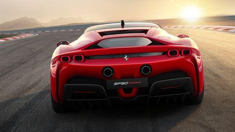 Land vehicle, Vehicle, Car, Supercar, Sports car, Automotive design, Red, Coupé, Performance car, Automotive exterior,