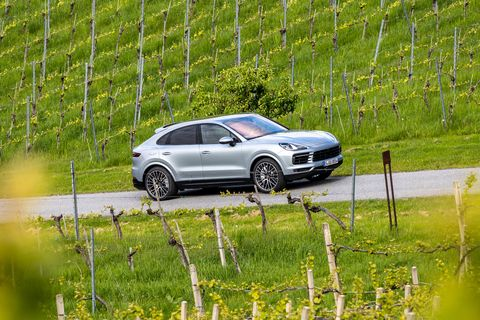 The Porsche Cayenne S Coupe has the same fastback shape but gets a 2.9-liter, twin-turbo V6 making434 horsepower. Power channels through an eight-speed transmission and to all four wheels.