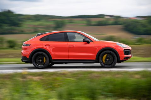The Porsche Cayenne Turbo Coupe gets the 4.0-liter V8 with 541 horsepower and 567 lb-ft of torque. It's as fast as it looks with that orange paint.