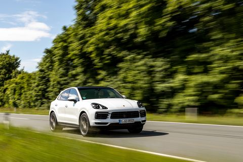 the porsche cayenne coupe comes with a fastback shape and a 30 liter v6 making335 horsepower power channels through an eight speed transmission and to all four wheels