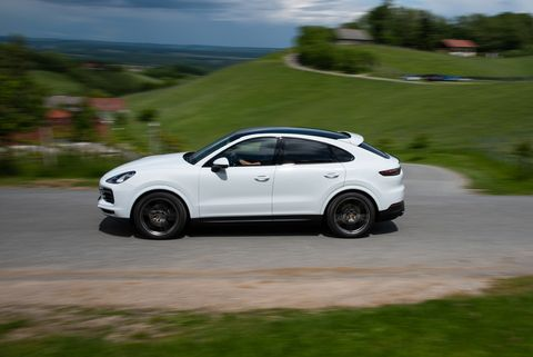 The Porsche Cayenne Coupe comes with a fastback shape and a 3.0-liter V6 making335 horsepower. Power channels through an eight-speed transmission and to all four wheels.