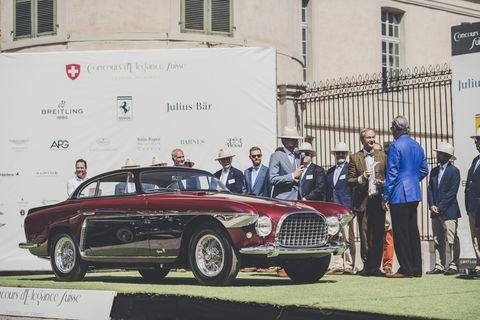 Cogan's car is a 1953 Ferrari by Vignale