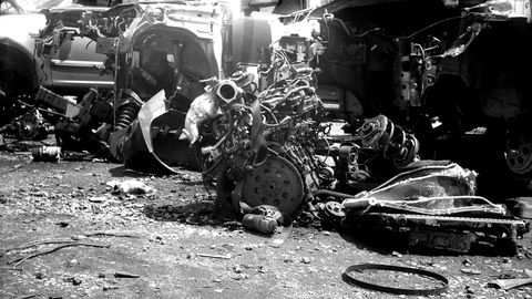 There's a sadness about engines pulled and discarded in junkyards.