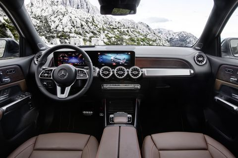 The 2020 Mercedes-Benz GLB crossover, which will go on sale in the United States before the end of 2019, draws its interior looks (and available technology) from the A-Class sedan. It offers an optional third row of seats, which gives the vehicle room for seven.